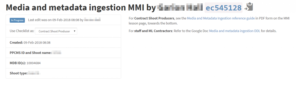 Screenshot show the header items of a checklist.