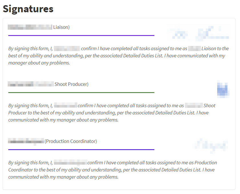 A screenshot showing all users have signed off on a checklist.