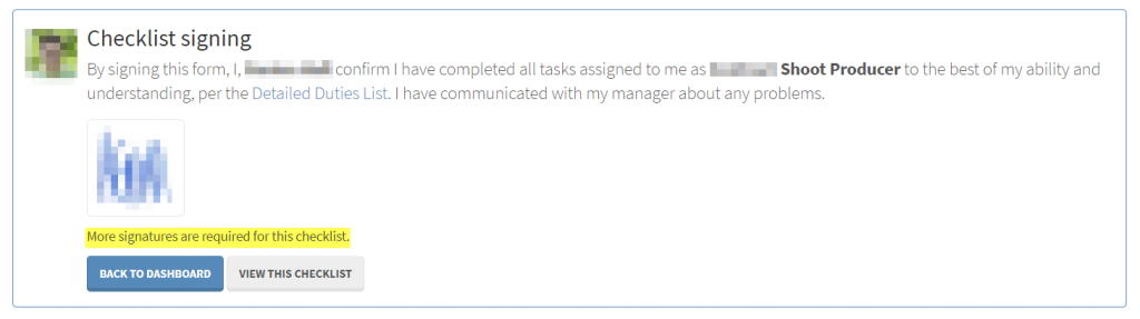 A screenshot showing a user that has signed off on a checklist.